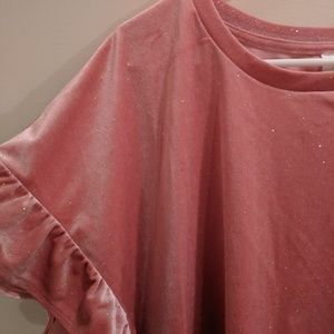 Millennial pink sparkly velvet shirt from old navy